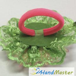 """Резинка для волосся """"Світло-рожева Жоржина з зеленим мереживом"""""""