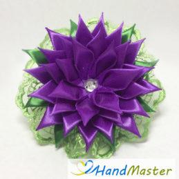 """Заколка для волосся """"Фіолетова Жоржина з зеленим мереживом"""""""