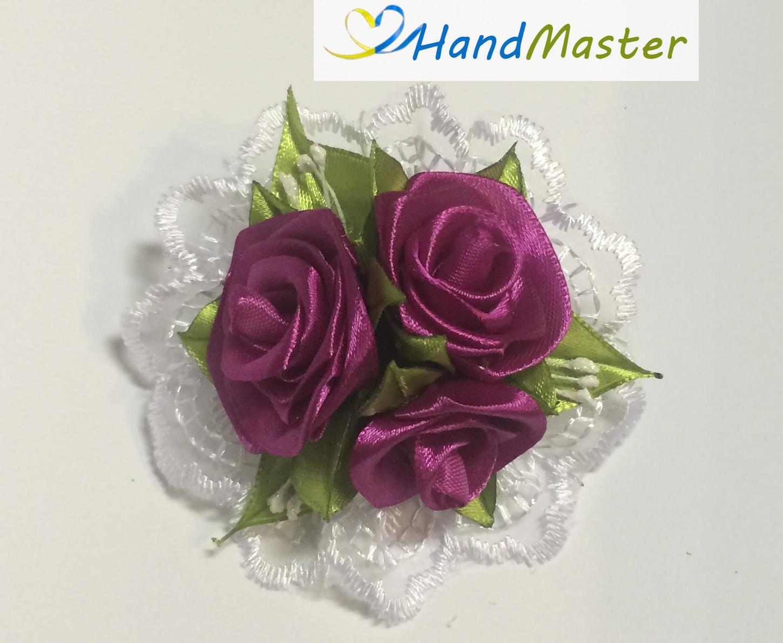"""Резинка для волосся """"Три бордові Троянди"""""""